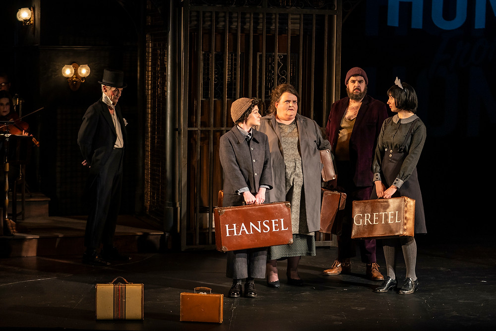 L-R: Raymond Keane (The Night Watchman), Raphaela Mangan (Hansel), Miriam Murphy (Mother), Ben McAteer (Father). Image by Patrick Redmond