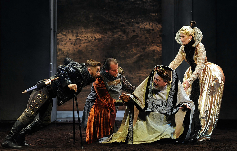 Aaron Monaghan, Garrett Lombard, John Olohan, Jane Brennan in Richard III. Photo Credit, Robbie Jack.