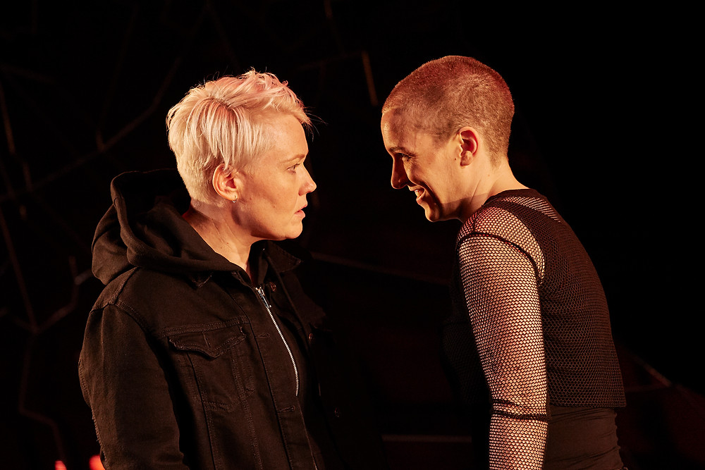 Amy Conroy and Bláithín Mac Gabhann in Citysong by Dylan Coburn Gray, directed by Caitríona McLaughlin, an Abbey Theatre and Soho Theatre co-production. Photo © Ros Kavanagh.