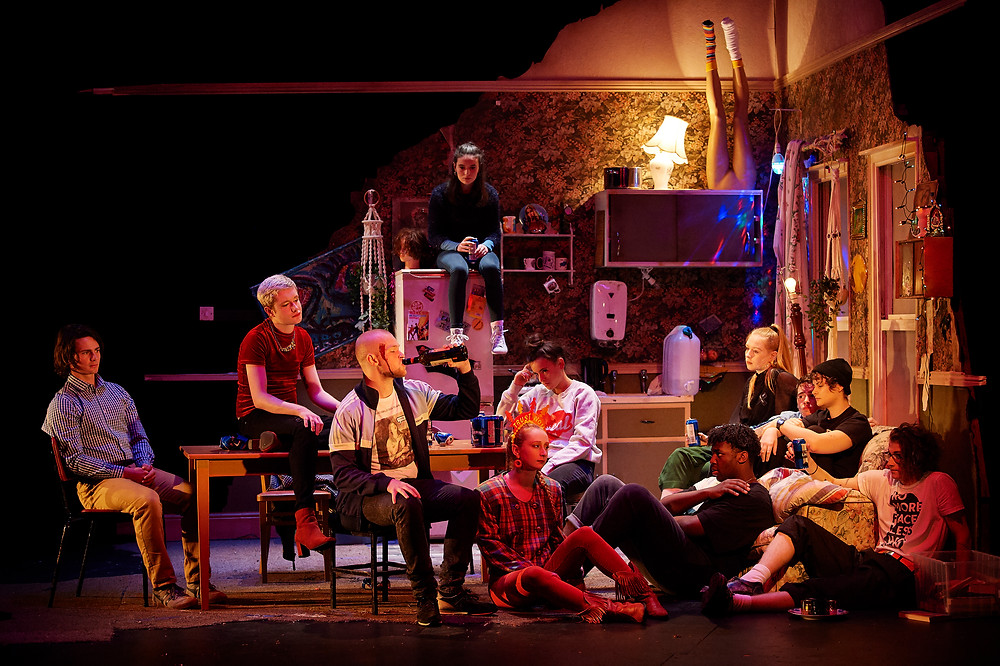 Cast members from the 2019 National Youth Theatre production of Ask Too Much of Me, on the Peacock Stage of the Abbey Theatre. Image: Ros Kavanagh.