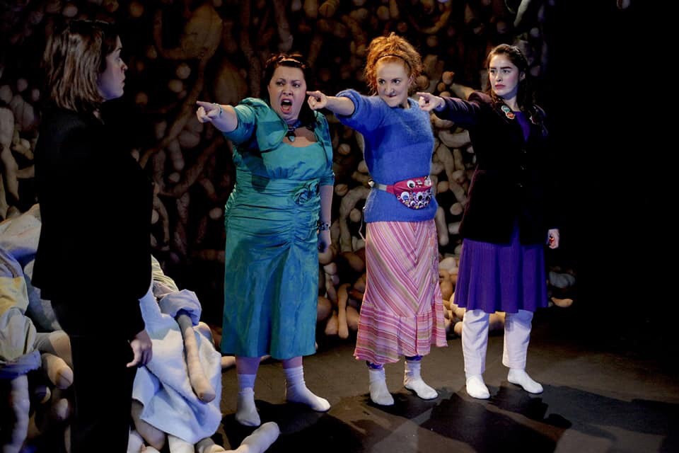 Aisling O'Mara, Camille Lucy Ross, Meg Healy and Danielle Galligan in We Can't Have Monkeys In The House by Ciara Elizabeth Smyth. Image uncredited.