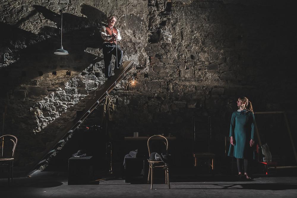 L-R: John Carty (The Chesire Cat) and Miriam Needham (Alice) in Alice in Wonderland. Credit: Peter Martin.