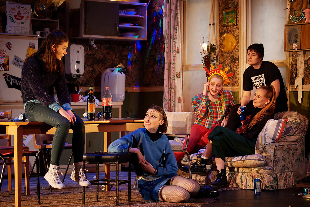 Olwyn O'Donoghue Patterson, Sarah Kelly, Abigail Mulcahy O'Connell, Eimear Hussey and Pippa Molony in the 2019 National Youth Theatre production of Ask Too Much of Me, on the Peacock Stage of the Abbey Theatre. Image: Ros Kavanagh.