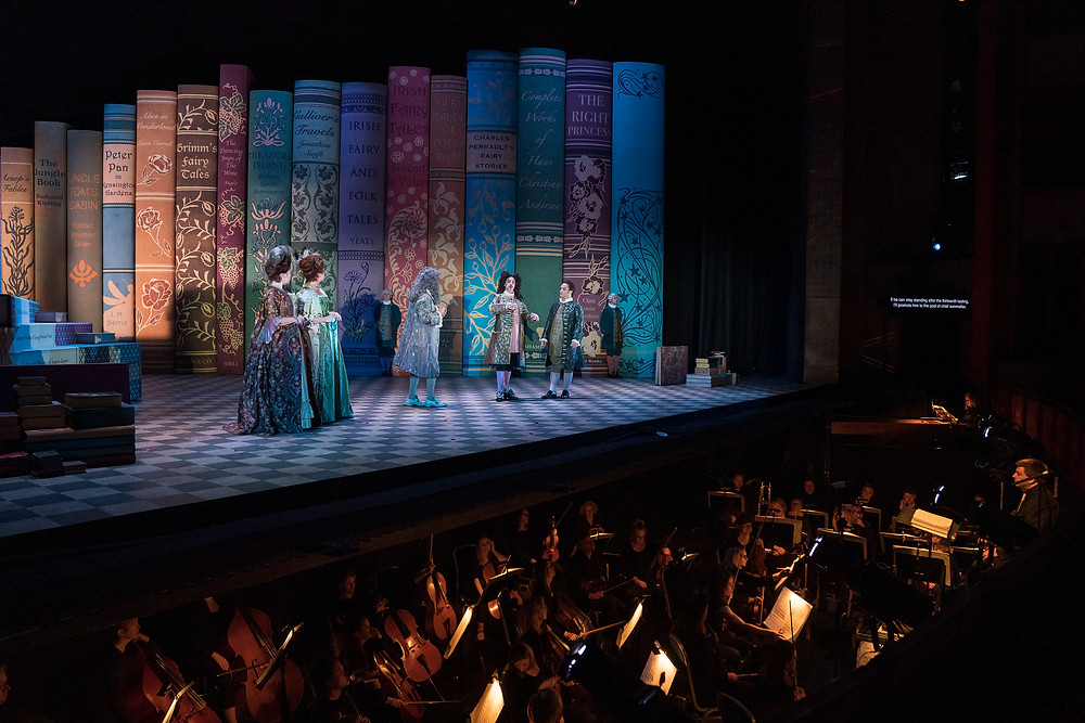 Cast of Cinderella/La Cenerentola and Irish National Opera Orchestra conducted by Fergus Sheil. Image by Pat Redmond.