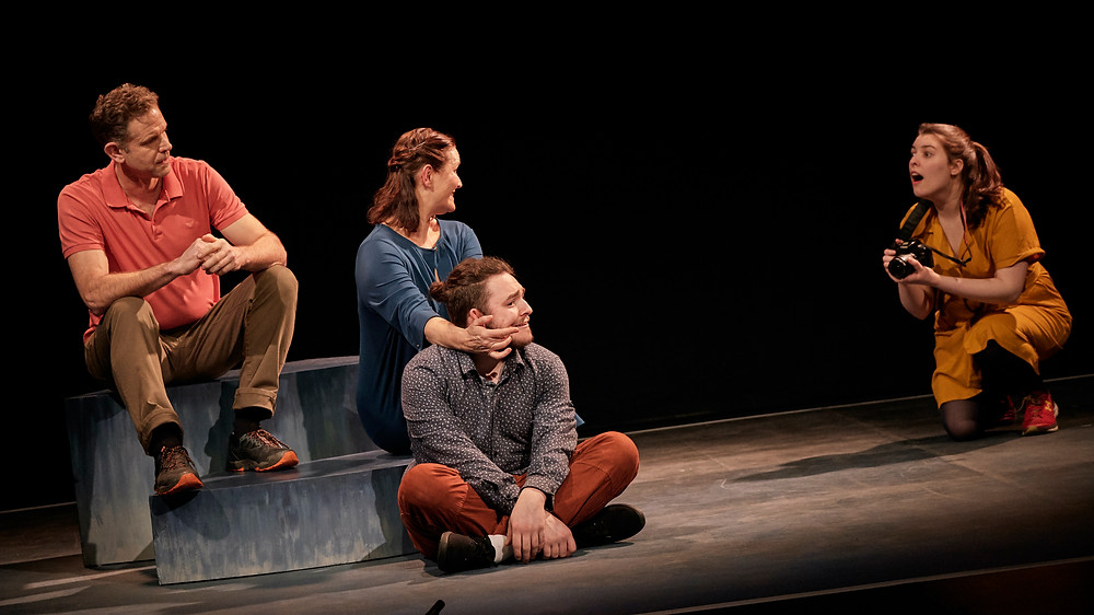 Matthew Ralli, Paula McGlinchey, Jayson Murray and Eleanor Walsh in What I (Don't) Know About Autism by Jody O'Neill; a Jody O'Neill and Abbey Theatre co-production in association with The Everyman and Mermaid County Wicklow Arts Centre. Image by Ros Kavanagh.