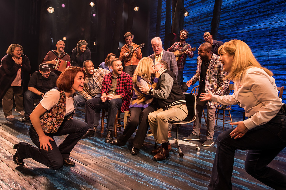 The Cast of 'Come From Away' including Rachel Tucker (left) and Emma Salvo (right). 'Come From Away' is an Abbey Theatre co-production with Junkyard Dog Productions and Smith & Brant Theatricals. Image © Matthew Murphy