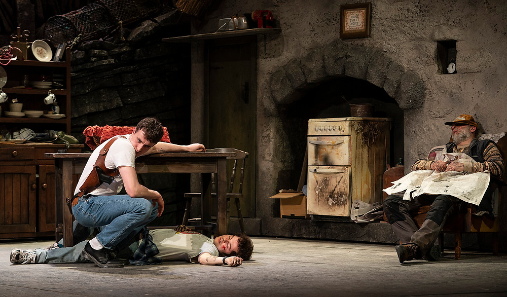 Paul Mescal, Alex Murphy, Don Wycherley in the Gaiety Theatre's major new production of Martin McDonagh's The Lieutenant of Inishmore, directed by Andrew Flynn, which will run at the Gaiety until 14 March. Photo Patrick Redmond