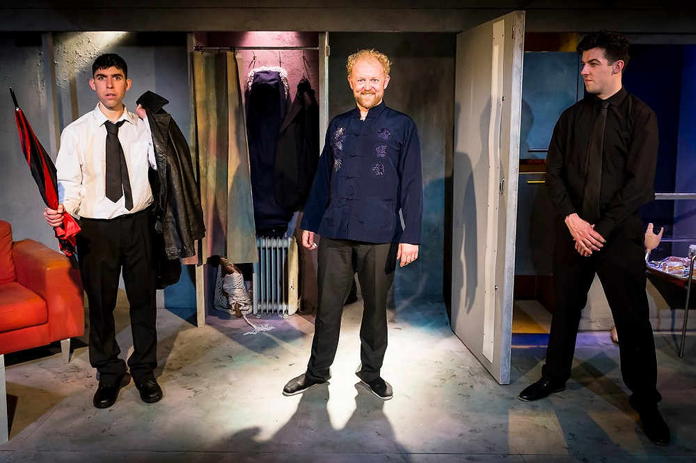 Rex Ryan, Neill Fleming and Edwin Mullane in Made In China. Photo The Corps Ensemble