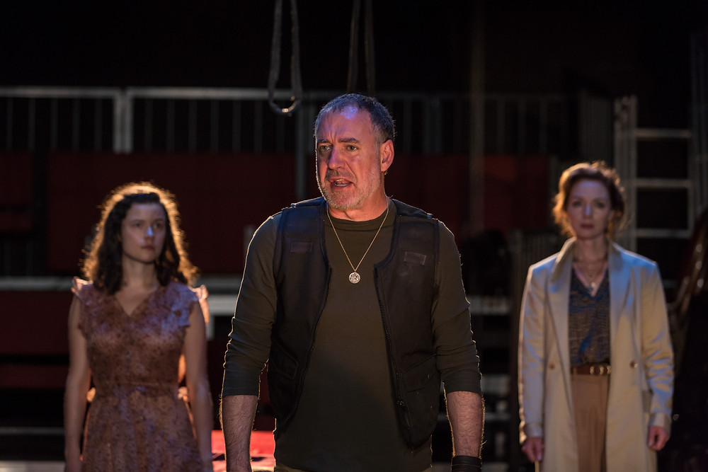 L-R, Zara Devlin, Brian Doherty, Aislín McGuckin in Hecuba. Images by Ste Murray