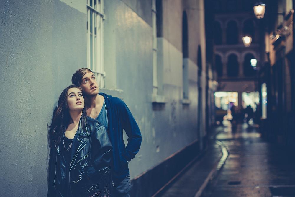 Danielle Galligan and Tom Moran in Lyrics. Photo  by Ste Murray