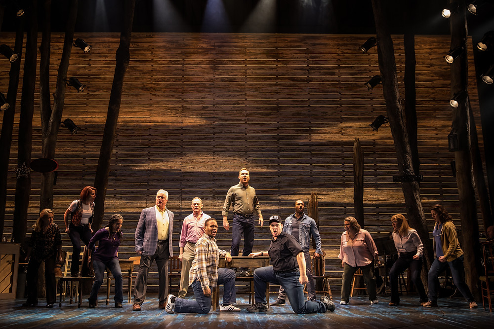The Cast of 'Come From Away', an Abbey Theatre co-production with Junkyard Dog Productions and Smith & Brant Theatricals. Image © Matthew Murphy