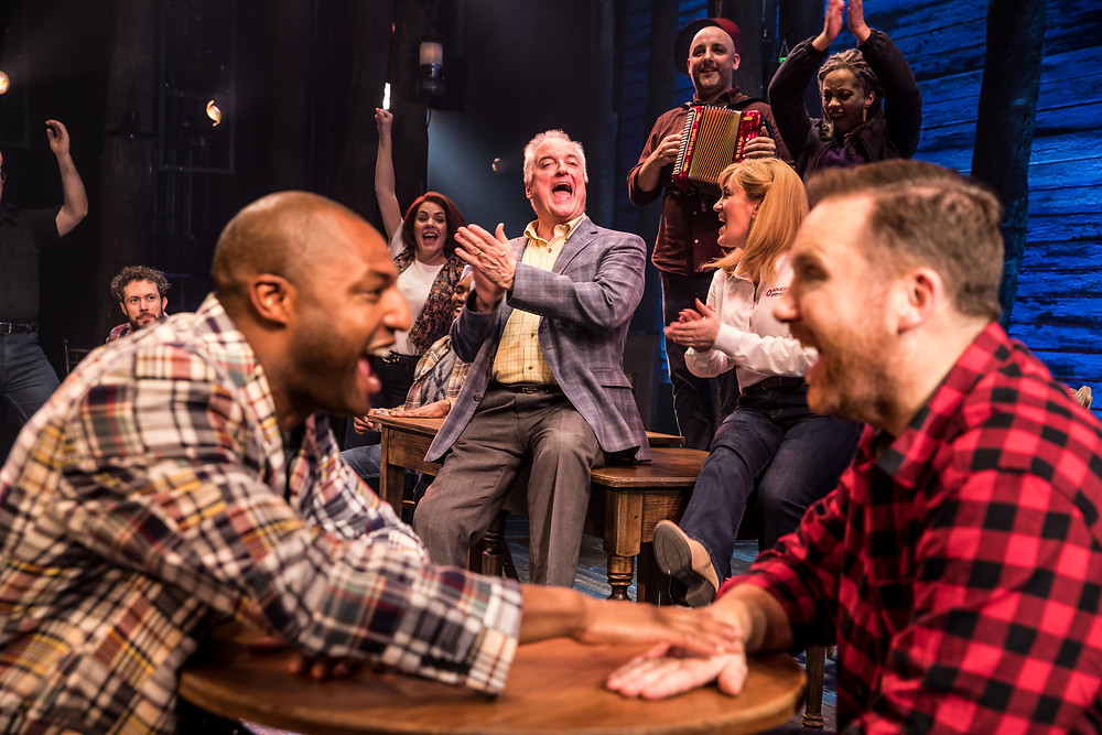 The Cast of 'Come From Away' including Jonathan Andrew Hume (left) and David Shannon (right). 'Come From Away' is an Abbey Theatre co-production with Junkyard Dog Productions and Smith & Brant Theatricals. Image © Matthew Murphy.