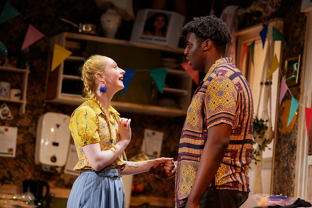 Abigail Mulcahy O'Connell and Michael Tient in the 2019 National Youth Theatre production of Ask Too Much of Me, on the Peacock Stage of the Abbey Theatre. Image: Ros Kavanagh.