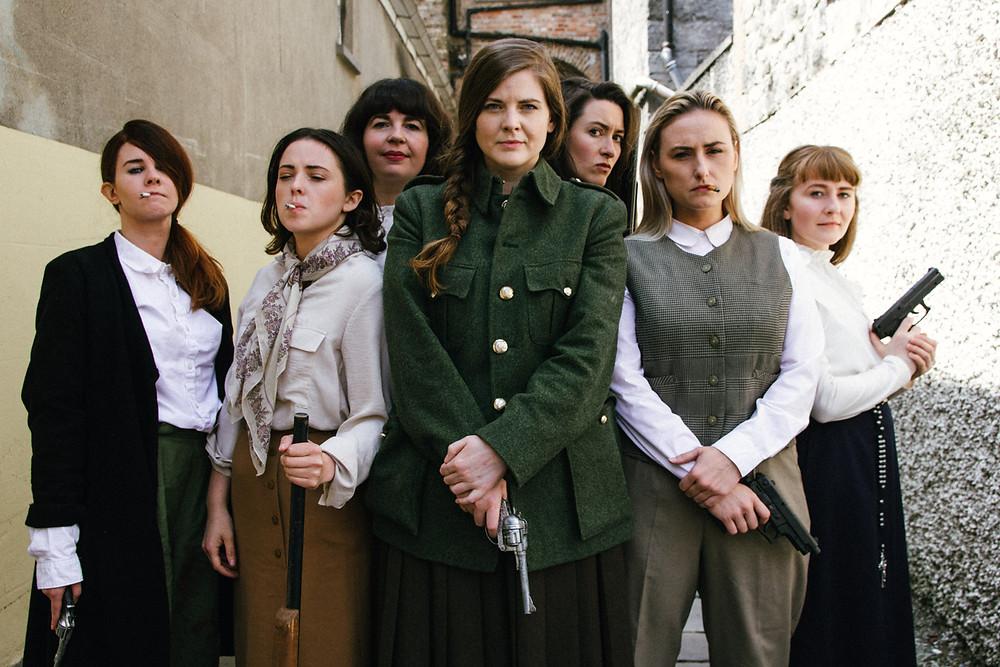 The Roaring Banshees. L-R bk Amy Dunne, Aoife Spratt L-R ft Aine Ni Laoghaire, Clodagh MD, Nessa Matthews, Ali Fox, Laura Brady. Image by Sean Clancy
