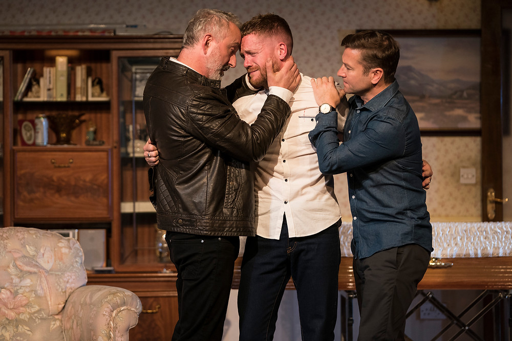 Declan Conlon (Brian), Ian Lloyd Anderson (Ray) and Billy Carter (Michael) in Come On Home by Phillip McMahon, directed by Rachel O'Riordan at the Abbey Theatre 2018. Image © Patrick Redmond.