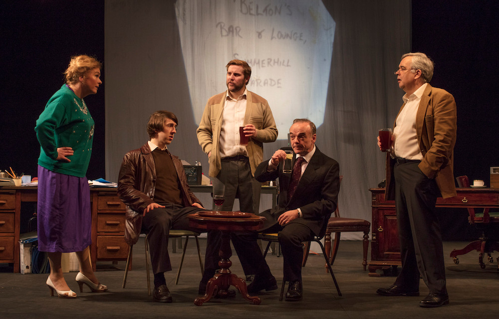 Janet Moran, Ruairí Heading, Peter Coonan, Morgan C Jones, and Jonathan Woods in Fishamble's HAUGHEY|GREGORY by Colin Murphy. Photo by Anthony Woods.