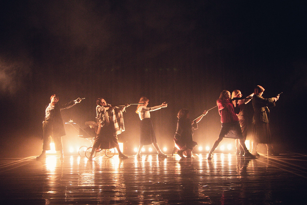 The Roaring Banshees. L-R Aine Ni Laoghaire, Clodagh MD, Laura Brady, Amy Dunne, Aoife Spratt. Ali Fox, Nessa Matthews. Image by Sean Clancy