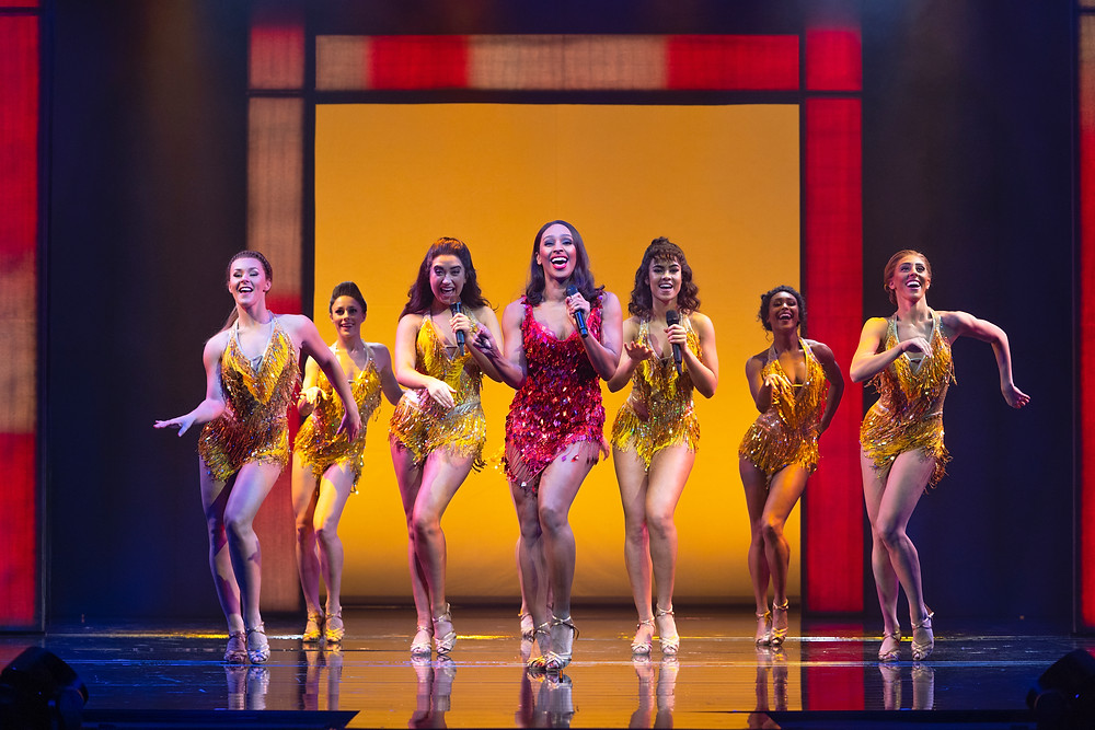 Alexandra Burke and Company in The Bodyguard. Photo by Paul Coltas.