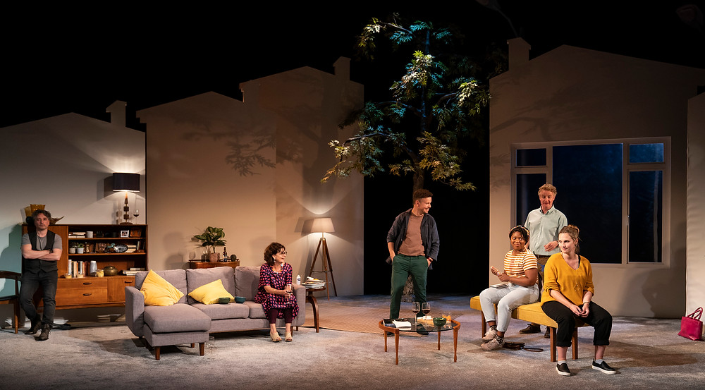 Aidan McArdle, Pom Boyd, Michael Ford-FitzGerald, Bethan Mary-James, Damian Kearney and Ruth Bradley in This Beautiful Village, an Abbey Theatre production on the Abbey Stage. Image by Pat Redmond.