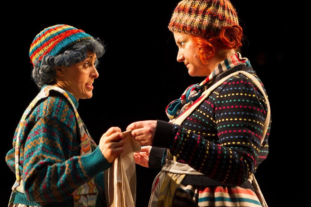 Mary Murray and Sorcha Fox in Fishamble's Tiny Play for Ireland. Photo by Pat Redmond