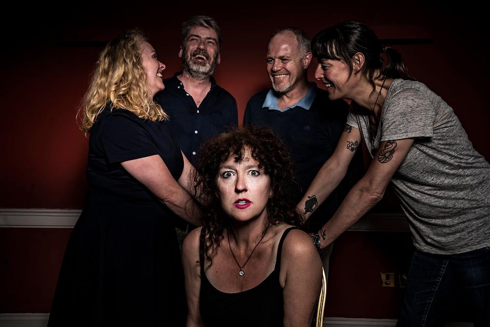 Janet Moran, Charlie Bonner, Enda Oates, Rebecca Root, Karen Ardiff in Rathmines Road by Deirdre Kinahan. Image by Pat Redmond