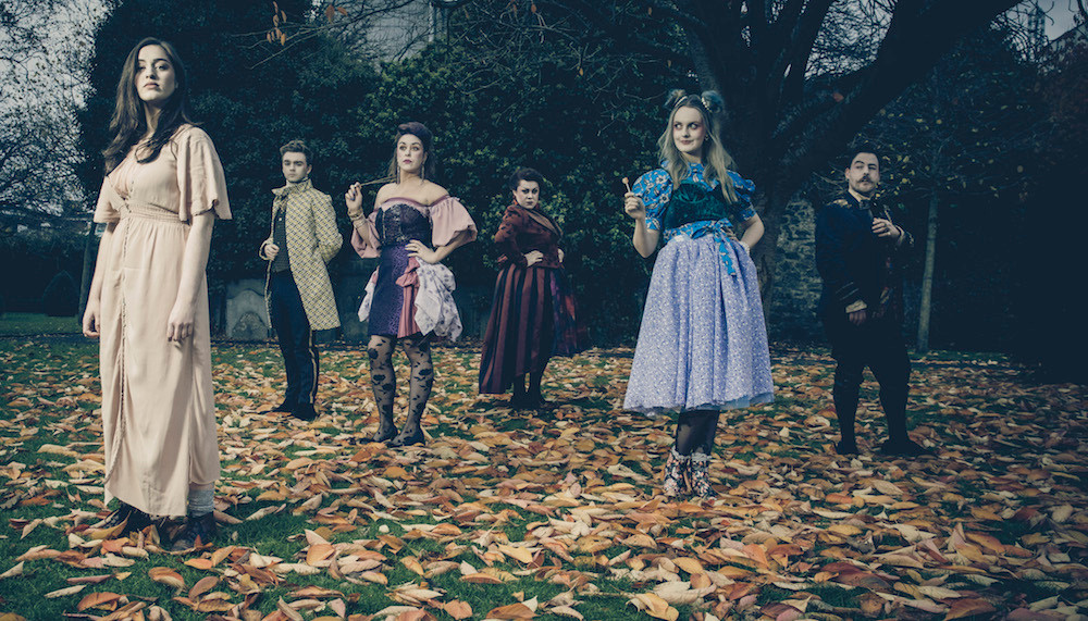 Danielle Galigan, Fionn Foley, Syssling O'Mara, Camille Lucy Ross, Ashleigh Dorrell and Finbarr Doyle in The Grimm Tale of Cinderella. Photo by Ste Murray