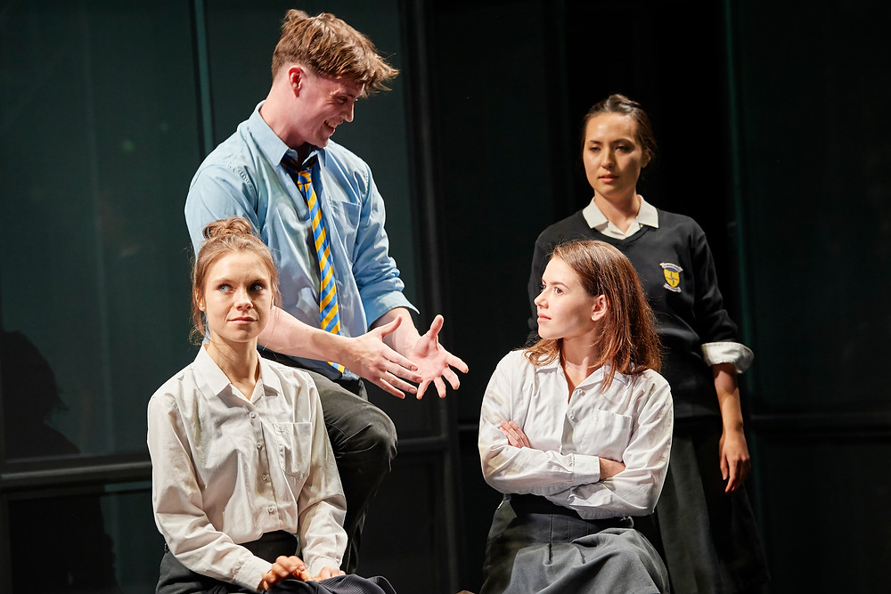 Venetia Bowe, Darragh Shannon, Lauren Coe and Síle Maguire in Asking for It by Louise O'Neill, adapted by Meadhbh McHugh in collaboration with Annabelle Comyn, a Landmark Productions and Everyman production in association with the Abbey Theatre and Cork Midsummer Festival. Photo by Ros Kavanagh