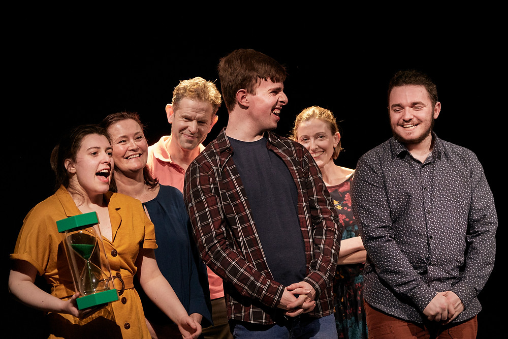 The cast of What I (Don't) Know About Autism by Jody O'Neill; a Jody O'Neill and Abbey Theatre co-production in association with The Everyman and Mermaid County Wicklow Arts Centre. Image by Ros Kavanagh.