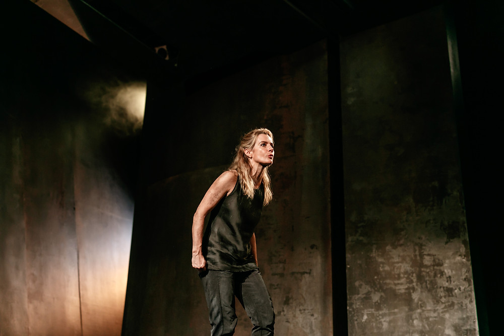 Lisa Dwan in the world premiere production of Pale Sister by Colm Tóibín at the Gate Theatre. An Audible and Gate Theatre Co-Production. Photograph by Bríd O'Donovan.