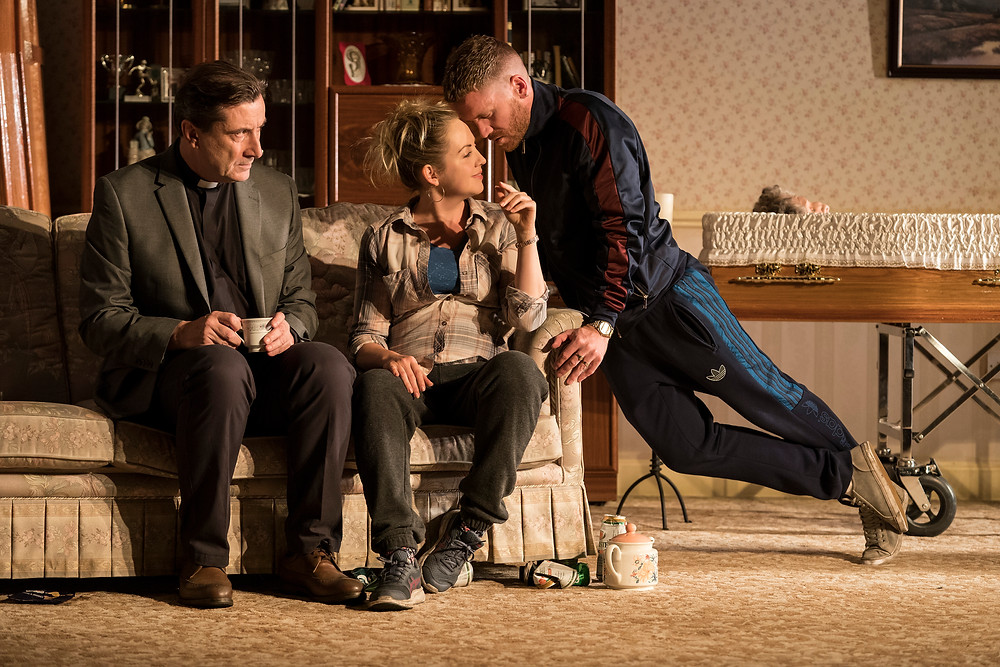 Billy Carter (Michael), Declan Conlon (Brian), Kathy Rose O'Brien (Aoife), Des Nealon (Father Seamus), Aislín McGuckin (Martina) and Ian Lloyd Anderson (Ray) in Come On Home by Phillip McMahon, directed by Rachel O'Riordan at the Abbey Theatre 2018. Image © Patrick Redmond.