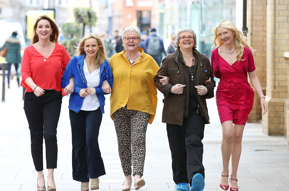L-R, Aisling O'Neill, Isobel Mahon, Maria McDermottroe, Rose Henderson, Claudia Carroll in Boom? Photo uncredited