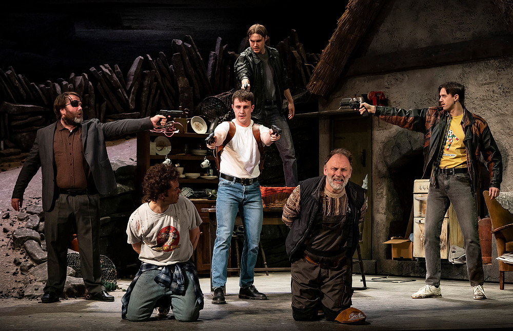 Cillian Ó Gairbhí, Alex Murphy, Paul Mescal, Desmond Eastwood, Don Wycherley, Cillian Lenaghan in the Gaiety Theatre's major new production of Martin McDonagh's The Lieutenant of Inishmore, directed by Andrew Flynn, which will run at the Gaiety until 14 March. Photo Patrick Redmond
