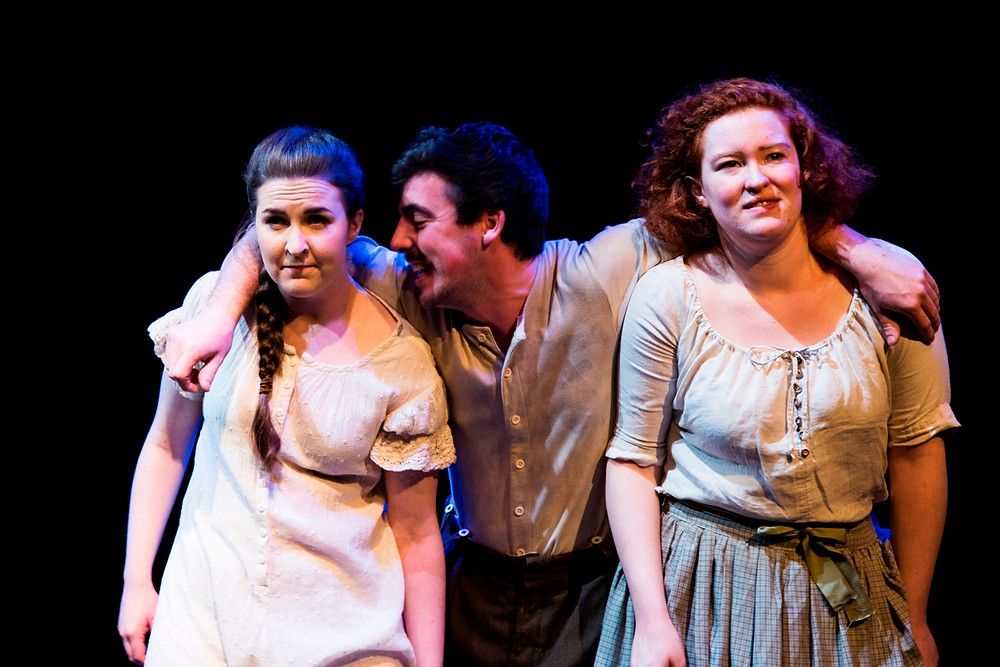 Katie O'Kelly, Gordon Quigley and Madi O'Carroll in Dubliners Women. Photo by Al Craig