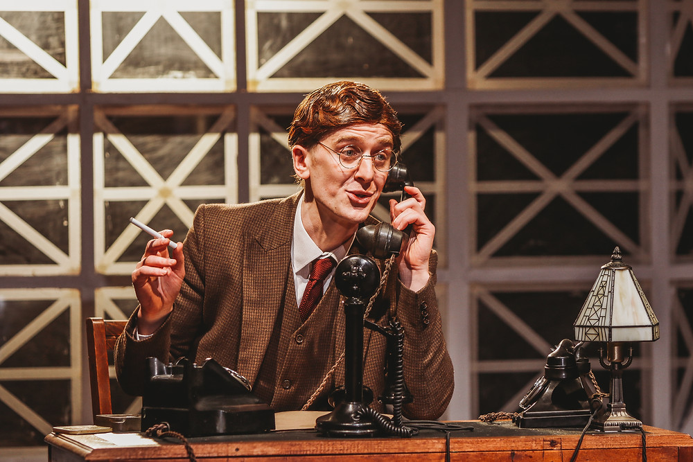 Ian Toner in the Abbey Theatre and Lyric Theatre, Belfast's Double Cross by Thomas Kilroy. Photo by Melissa Gordon