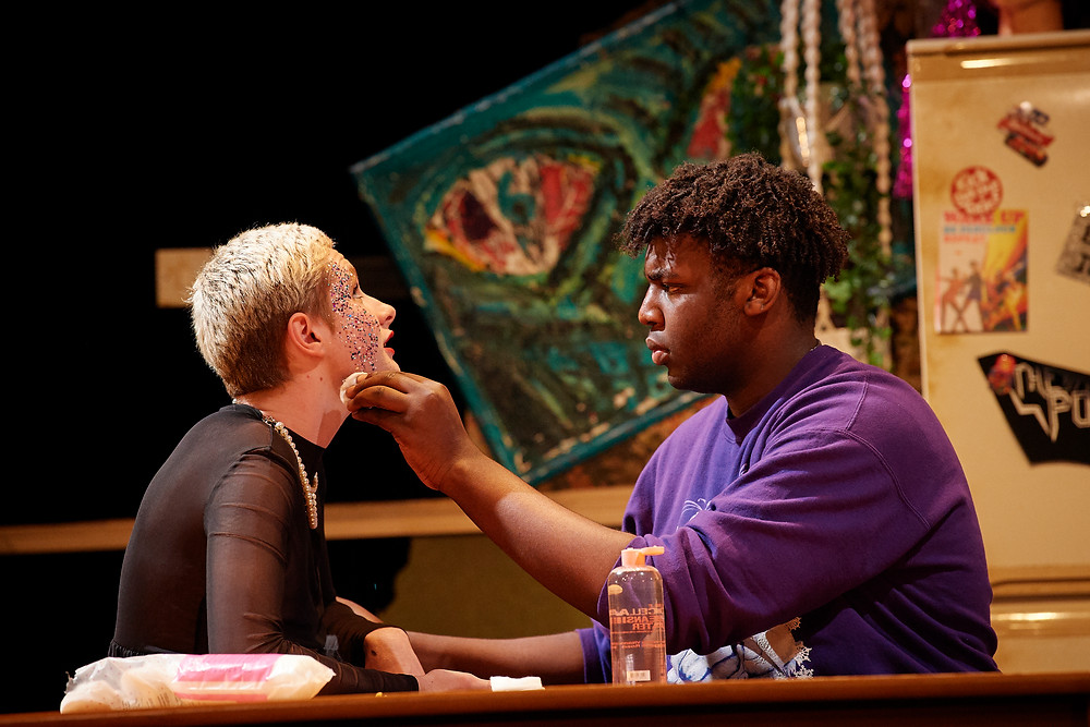 Seán Kenneally and Michael Tient in the 2019 National Youth Theatre production of Ask Too Much of Me, on the Peacock Stage of the Abbey Theatre. Image: Ros Kavanagh.