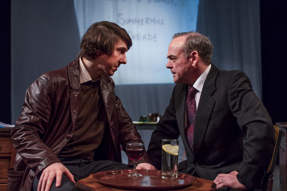 Ruairí Heading and Morgan C Jones in Fishamble's HAUGHEY|GREGORY by Colin Murphy. Photo by Anthony Woods