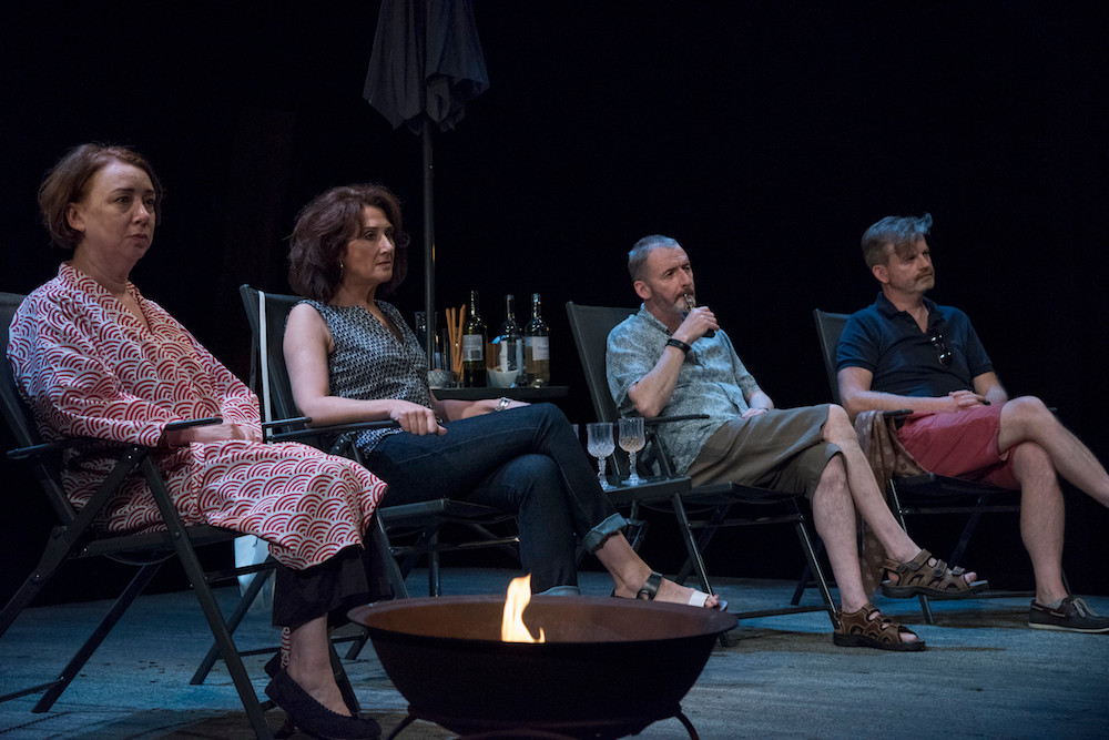 Cara Kelly as Rosemary, Ali White as Maggie, Frankie McCafferty as Gerry, Ruairi Conaghan as Tom in Fire Below (A War of Words). Photo by Chris Hill