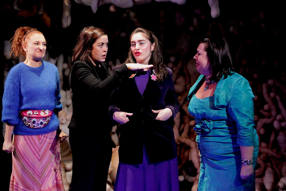 Meg Healy, Aisling O'Mara, Danielle Galligan and Camille Lucy Ross in We Can't Have Monkeys In The House by Ciara Elizabeth Smyth. Image uncredited.