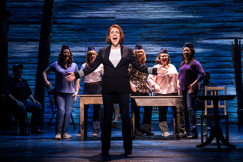 The Cast of 'Come From Away' including Rachel Tucker. 'Come From Away' is an Abbey Theatre co-production with Junkyard Dog Productions and Smith & Brant Theatricals. Image © Matthew Murphy.