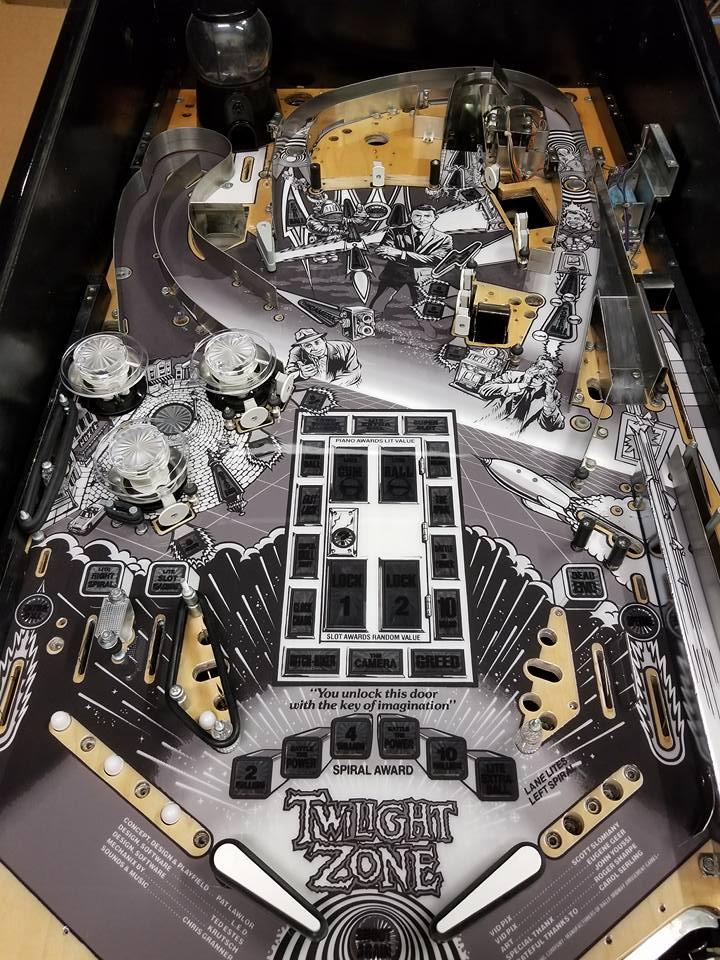 Black and White Twilight Zone Pinball Machine