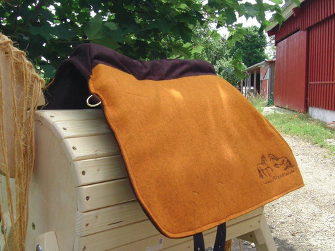 L´amour Barock Comfort orange meliert Comfortpolster: dunkelbraun Logo: dunkelbraun mit D-Ringen vorn