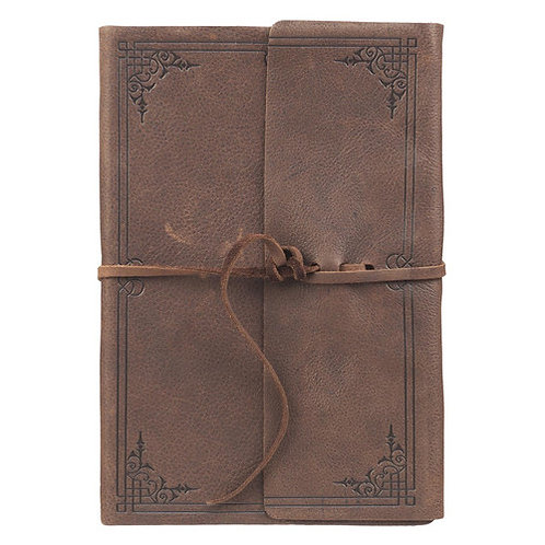 Dark Brown Leather Journal with Strap
