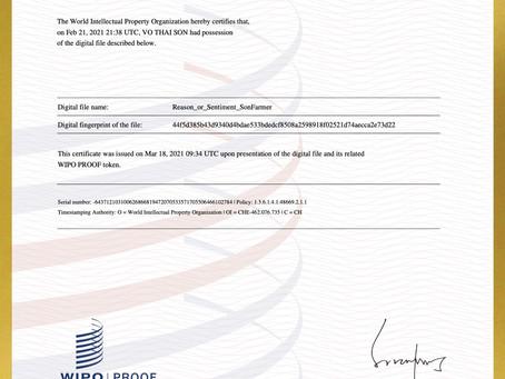 Tổ chức Sở hữu Trí tuệ Thế giới (WIPO) đã chứng nhận Võ Thái Sơn sở hữu ca khúc Reason or Sentiment:
