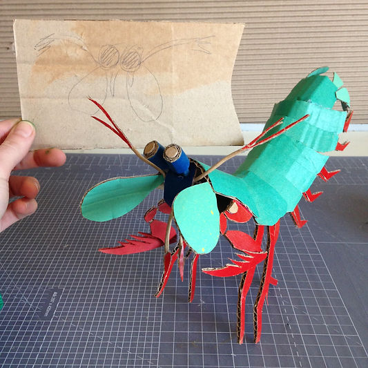 Lottie Smith Cardboard sculpture prop Mantis shrimp David Attenborough Biscuithead and the biscuit badgers music video