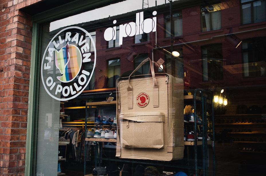 Giant Fjällräven Kånken Bag Cardboard Prop Sculpture OiPolloi Manchester Shop Window Design Lottie Smith