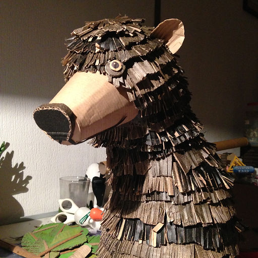 Lottie Smith Cardboard sculpture prop Bear David Attenborough Biscuithead and the biscuit badgers music video