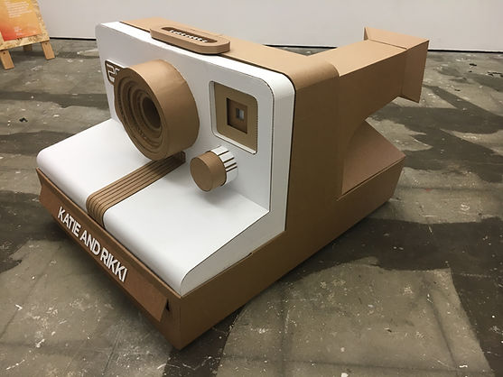 Polaroid, Polaroid Land Camera, Lottie Smith, cardboard, cardboard wizardry, cardboard sculpture, analogue camera, wedding, photo booth, event design, sustainable design solutions, wedding props, wedding reception, filmmaker, photographer