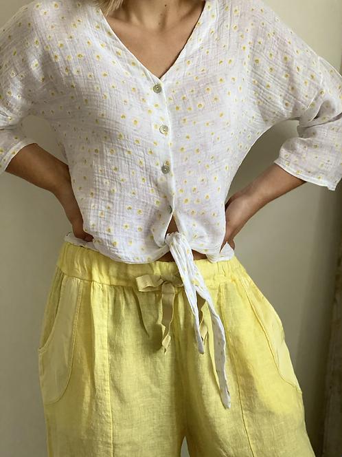 Pantalon lin jaune