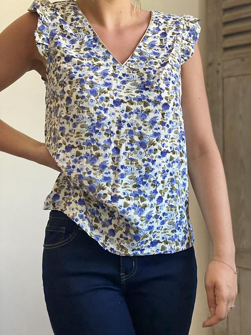 Top fleuris bleu