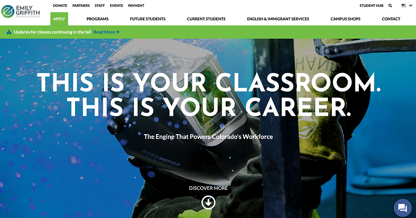 Homepage of Emily Griffith Technical College